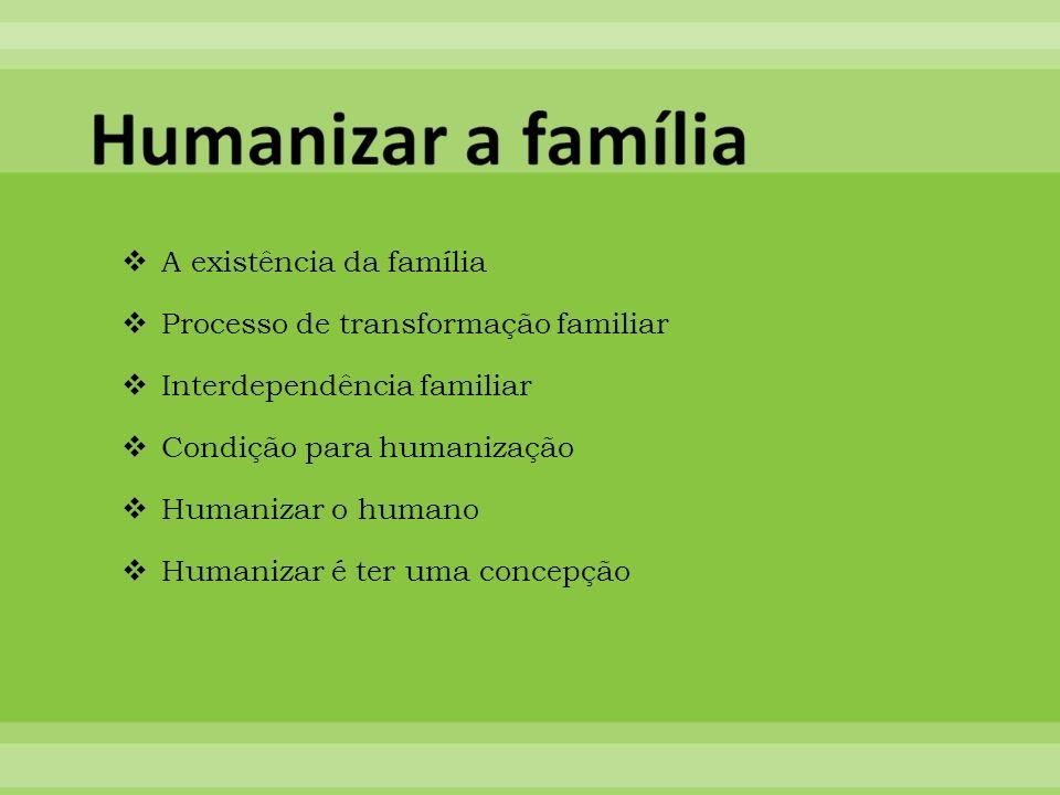Humanizar a família A existência da família