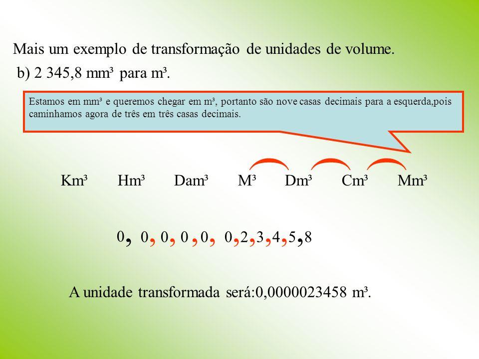 Mais um exemplo de transformação de unidades de volume.
