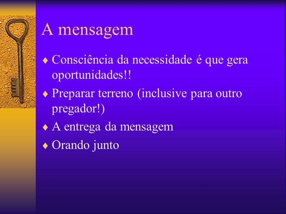 A mensagem Consciência da necessidade é que gera oportunidades!!