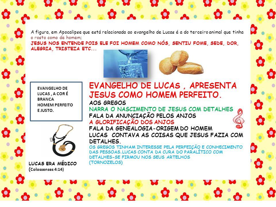 EVANGELHO DE LUCAS , APRESENTA JESUS COMO HOMEM PERFEITO.
