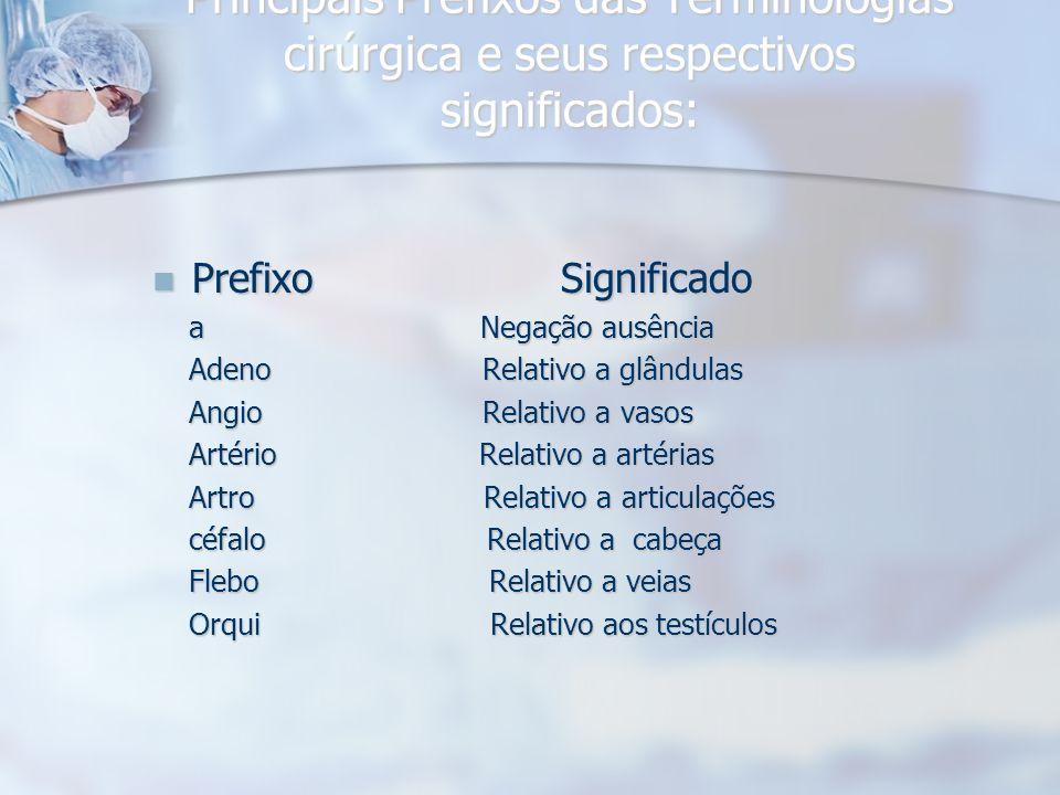 Principais Prefixos das Terminologias cirúrgica e seus respectivos significados: