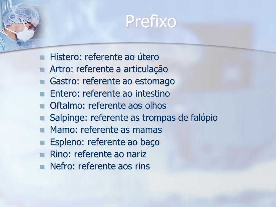 Prefixo Histero: referente ao útero Artro: referente a articulação
