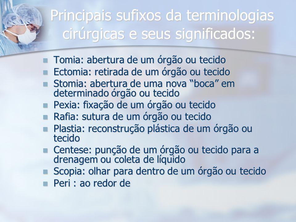 Principais sufixos da terminologias cirúrgicas e seus significados: