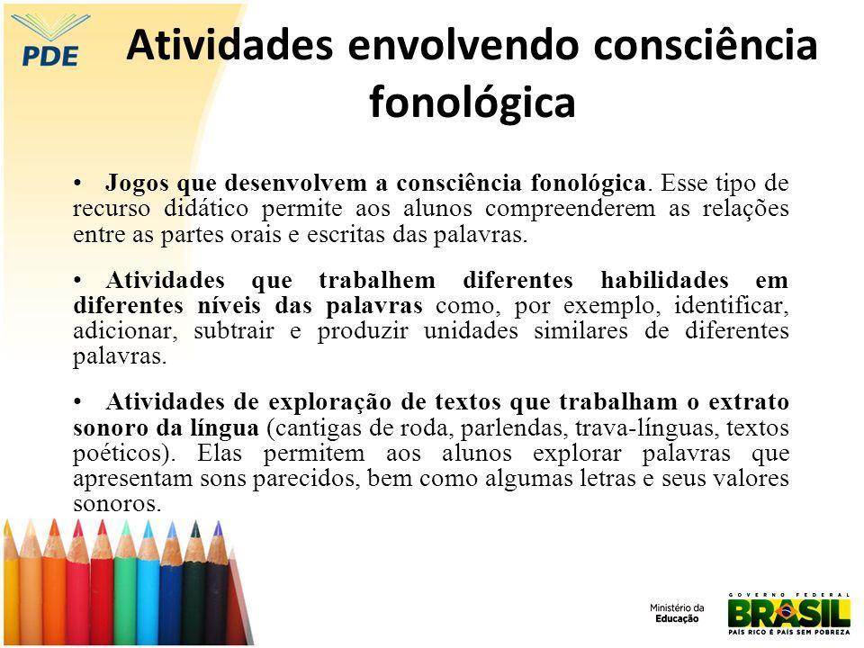 Atividades envolvendo consciência fonológica