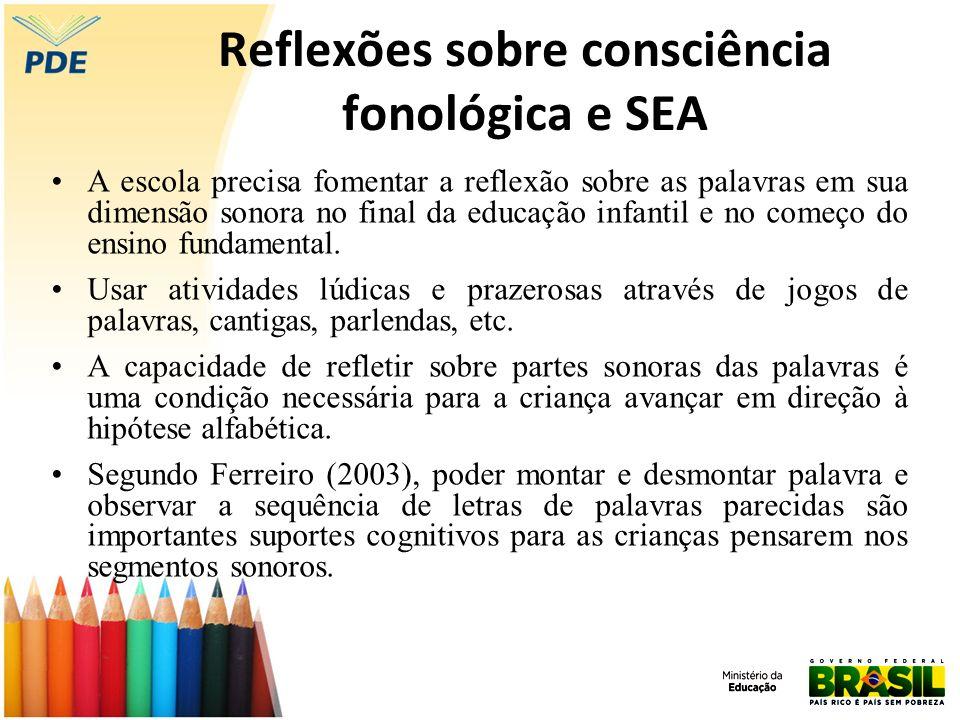 Reflexões sobre consciência fonológica e SEA