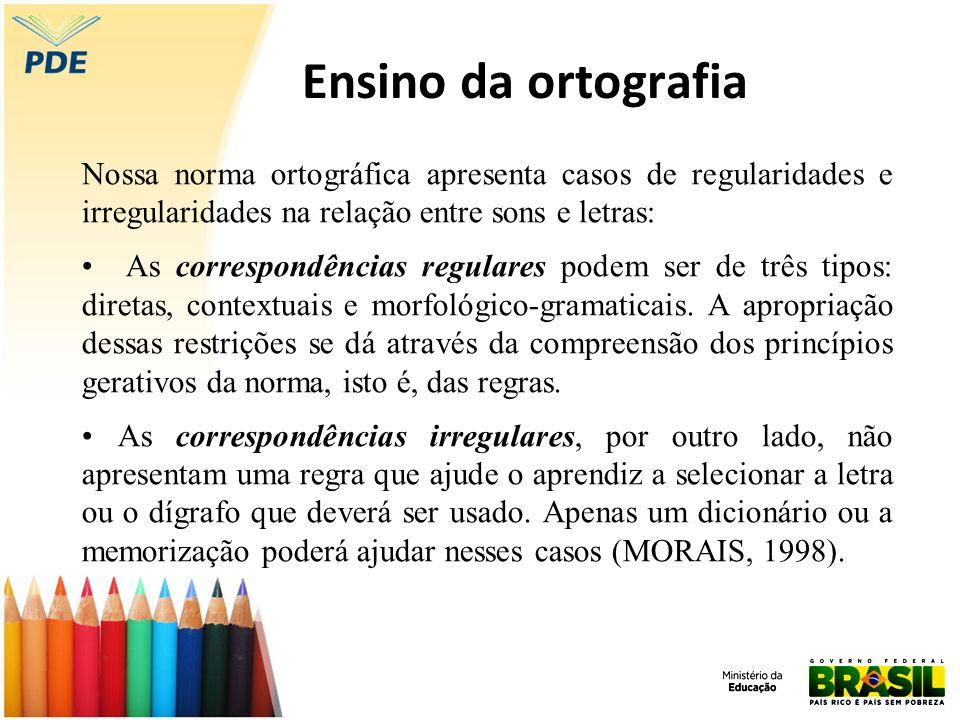 Ensino da ortografia Nossa norma ortográfica apresenta casos de regularidades e irregularidades na relação entre sons e letras: