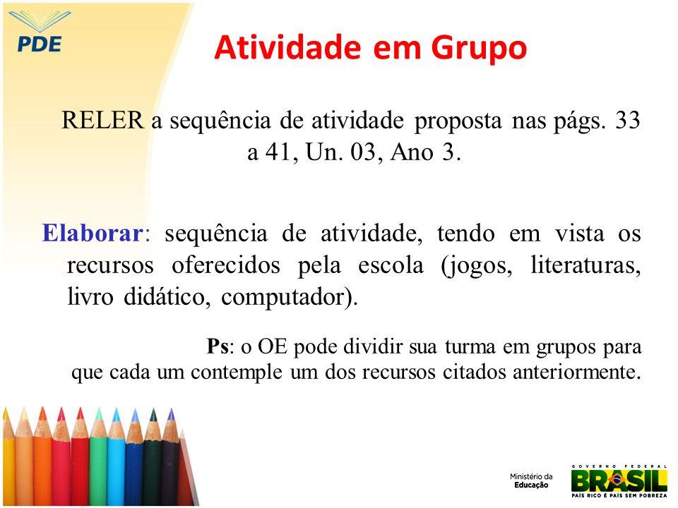 Atividade em Grupo RELER a sequência de atividade proposta nas págs. 33 a 41, Un. 03, Ano 3.