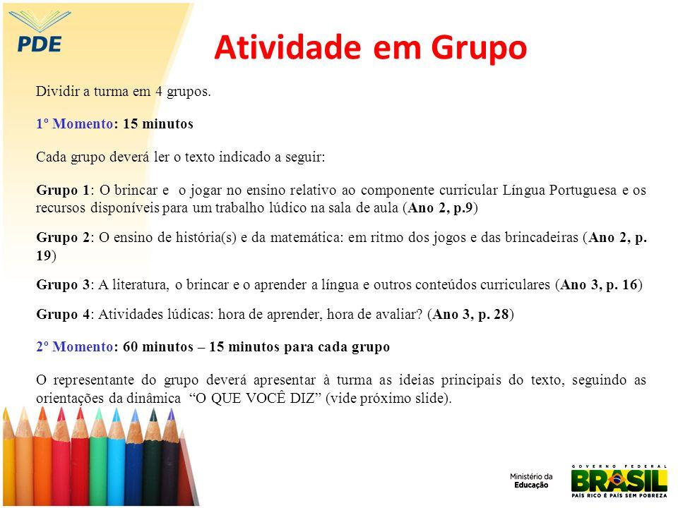 Atividade em Grupo Dividir a turma em 4 grupos. 1º Momento: 15 minutos