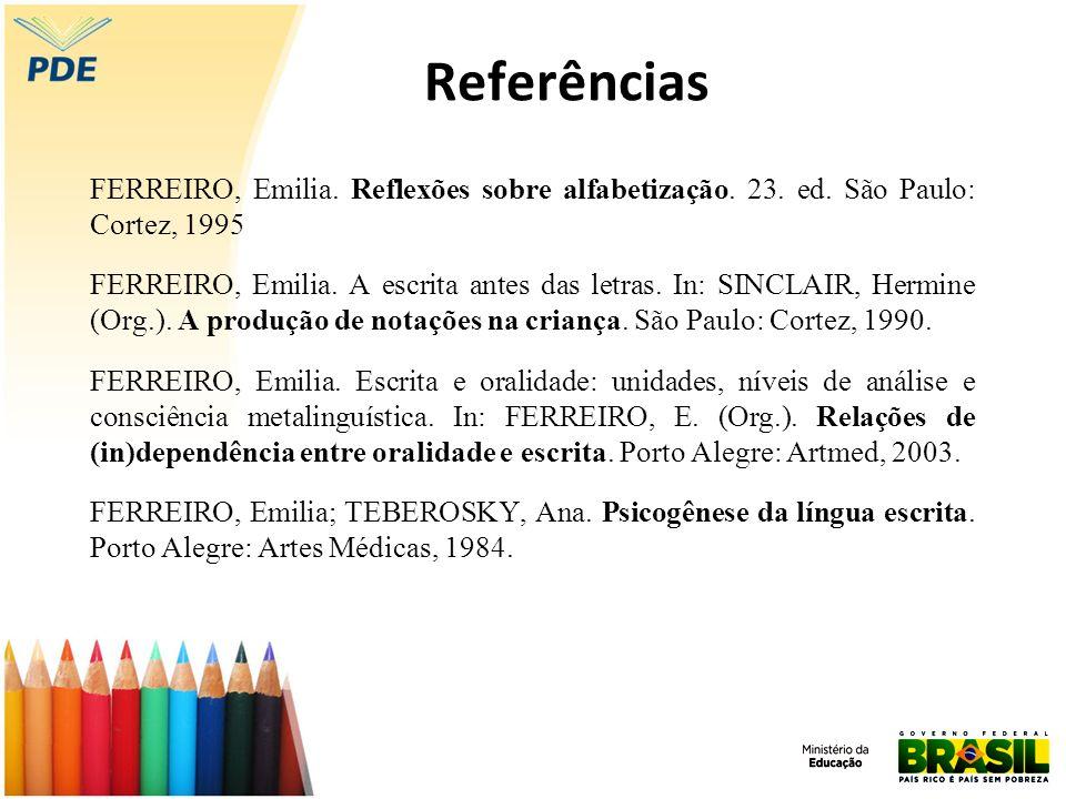 Referências FERREIRO, Emilia. Reflexões sobre alfabetização. 23. ed. São Paulo: Cortez, 1995.