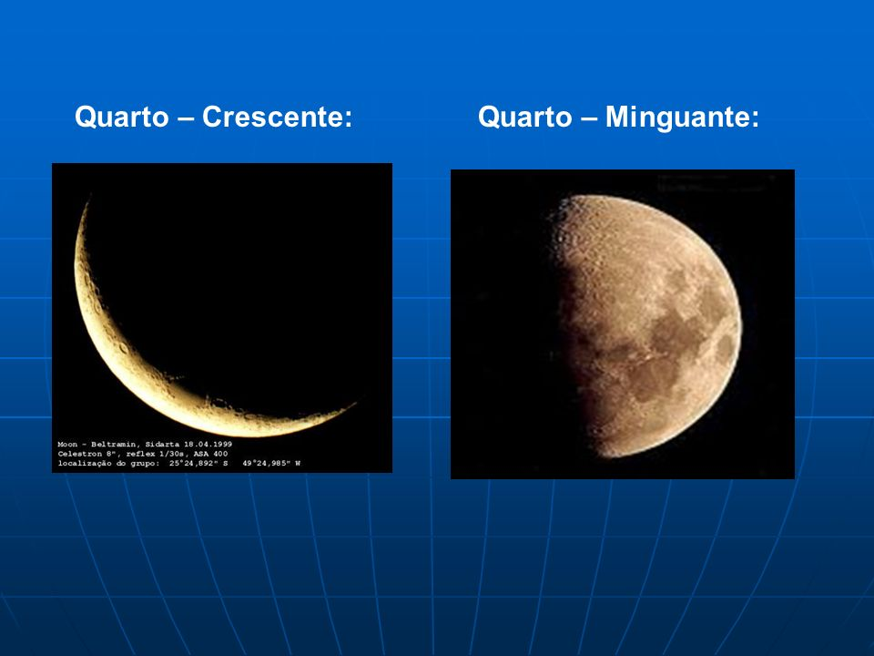 Quarto – Crescente: Quarto – Minguante:
