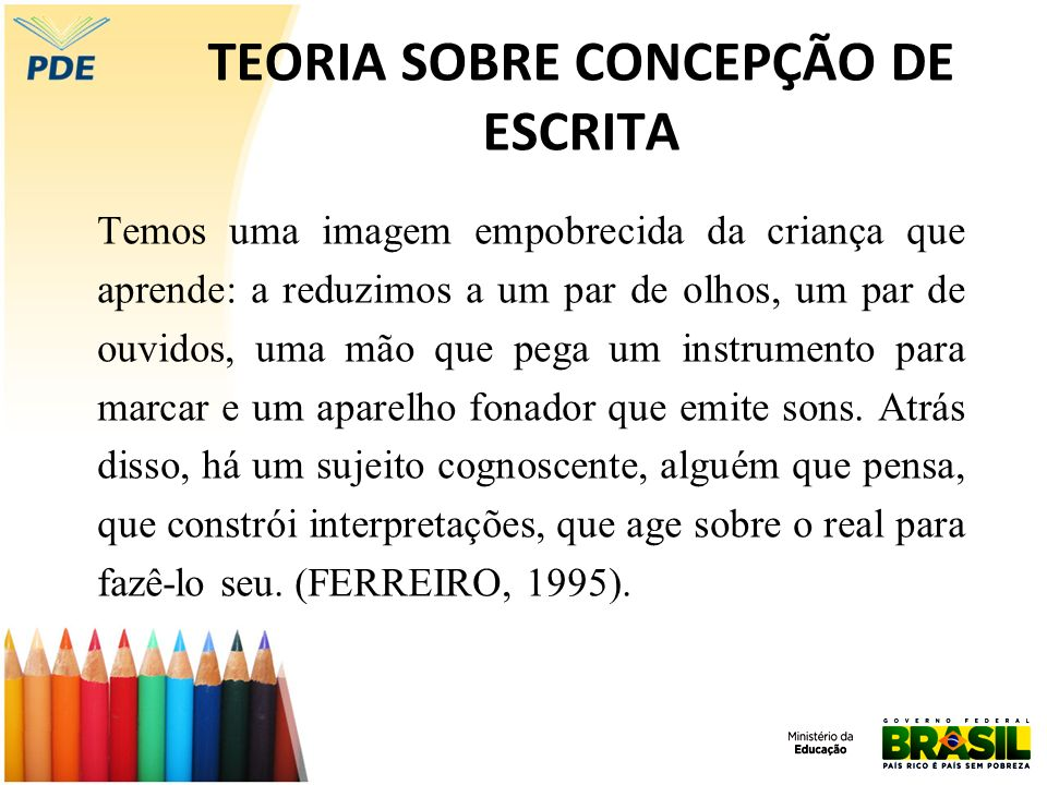 TEORIA SOBRE CONCEPÇÃO DE ESCRITA