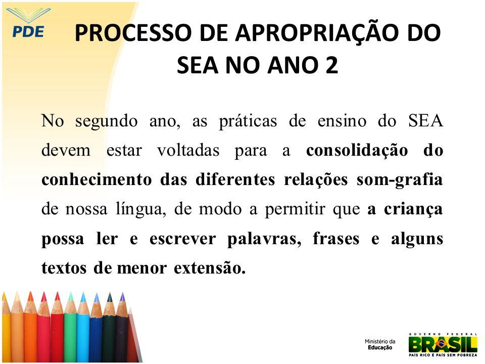 PROCESSO DE APROPRIAÇÃO DO SEA NO ANO 2