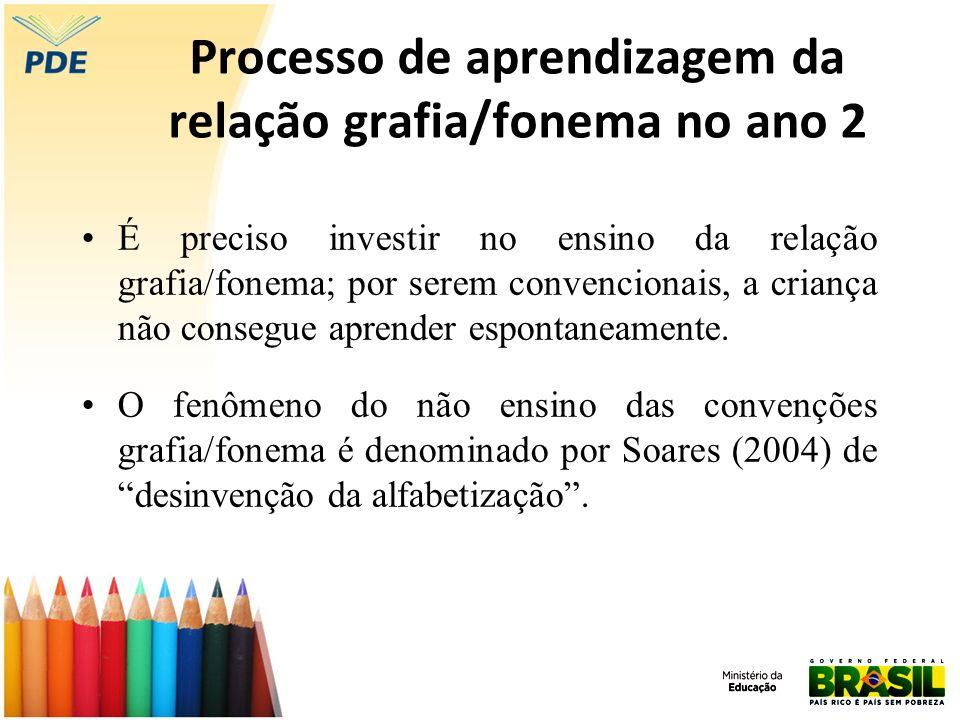 Processo de aprendizagem da relação grafia/fonema no ano 2