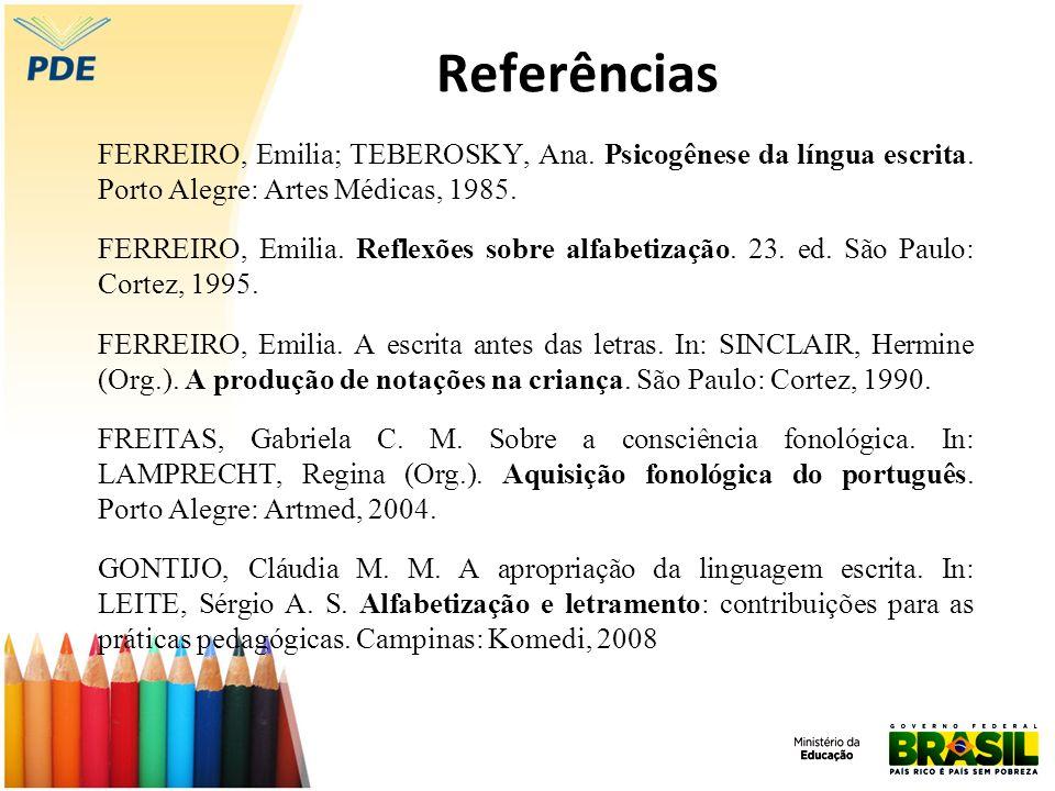 Referências FERREIRO, Emilia; TEBEROSKY, Ana. Psicogênese da língua escrita. Porto Alegre: Artes Médicas, 1985.
