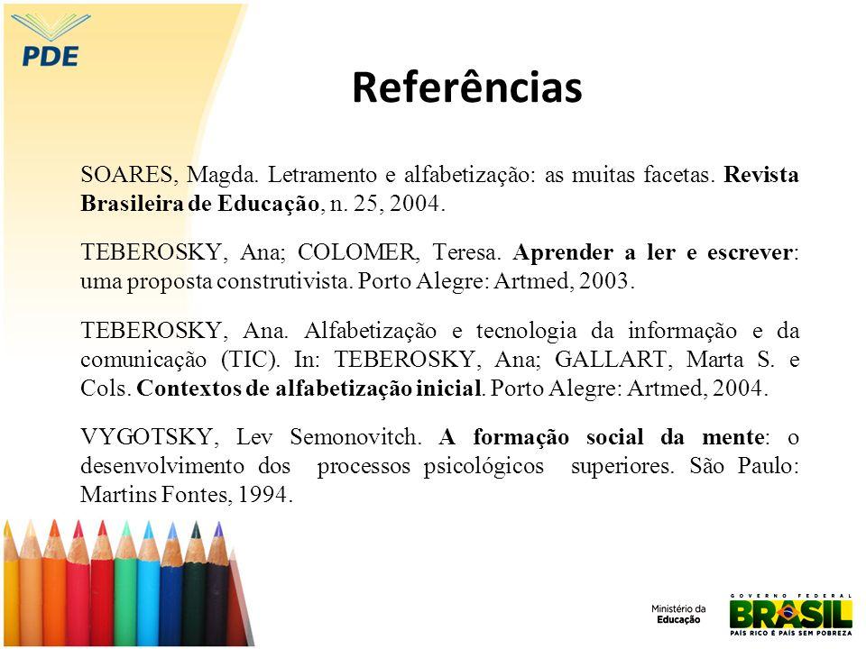 Referências SOARES, Magda. Letramento e alfabetização: as muitas facetas. Revista Brasileira de Educação, n. 25, 2004.