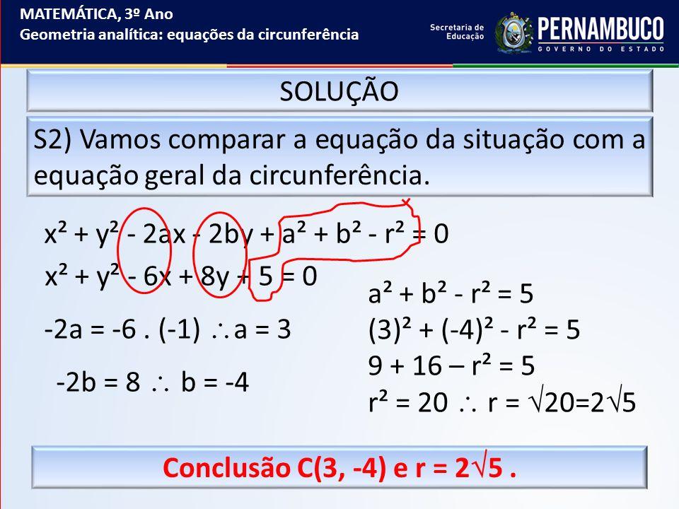 x² + y² - 2ax - 2by + a² + b² - r² = 0 x² + y² - 6x + 8y + 5 = 0
