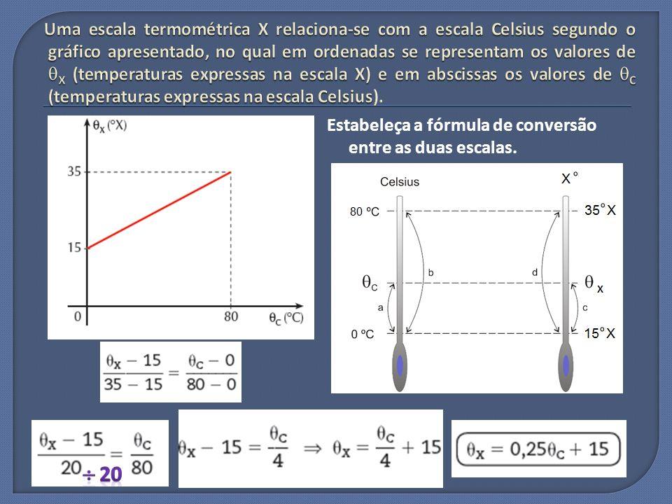 Uma escala termométrica X relaciona-se com a escala Celsius segundo o gráfico apresentado, no qual em ordenadas se representam os valores de X (temperaturas expressas na escala X) e em abscissas os valores de C (temperaturas expressas na escala Celsius).