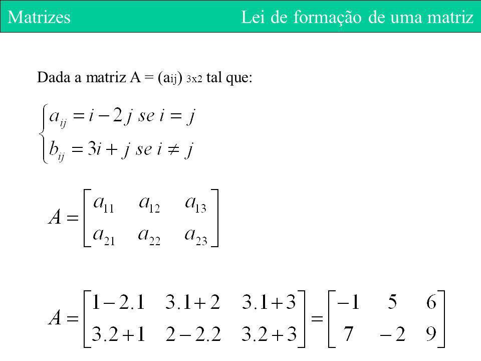 Matrizes Lei de formação de uma matriz