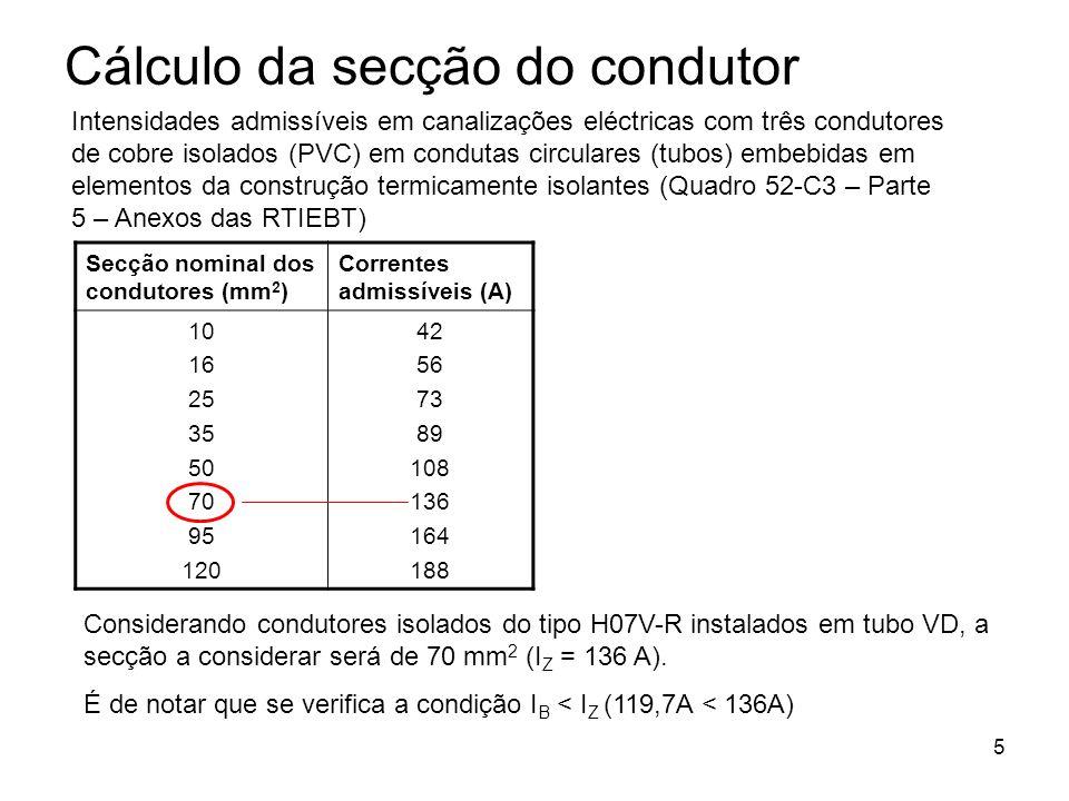 Cálculo da secção do condutor