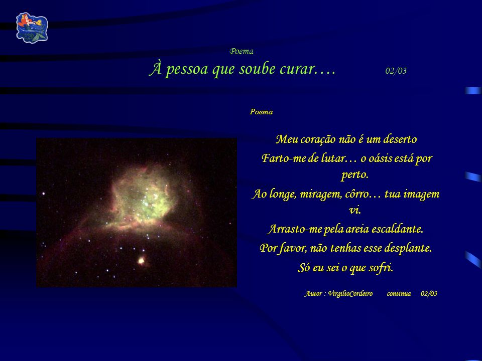 Poema À pessoa que soube curar…. 02/03