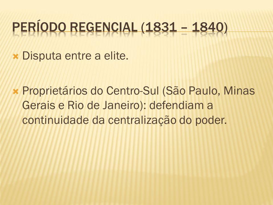 Período regencial (1831 – 1840) Disputa entre a elite.
