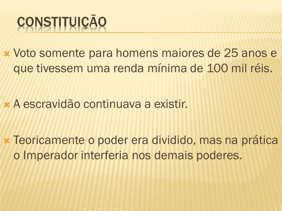 Constituição Voto somente para homens maiores de 25 anos e que tivessem uma renda mínima de 100 mil réis.