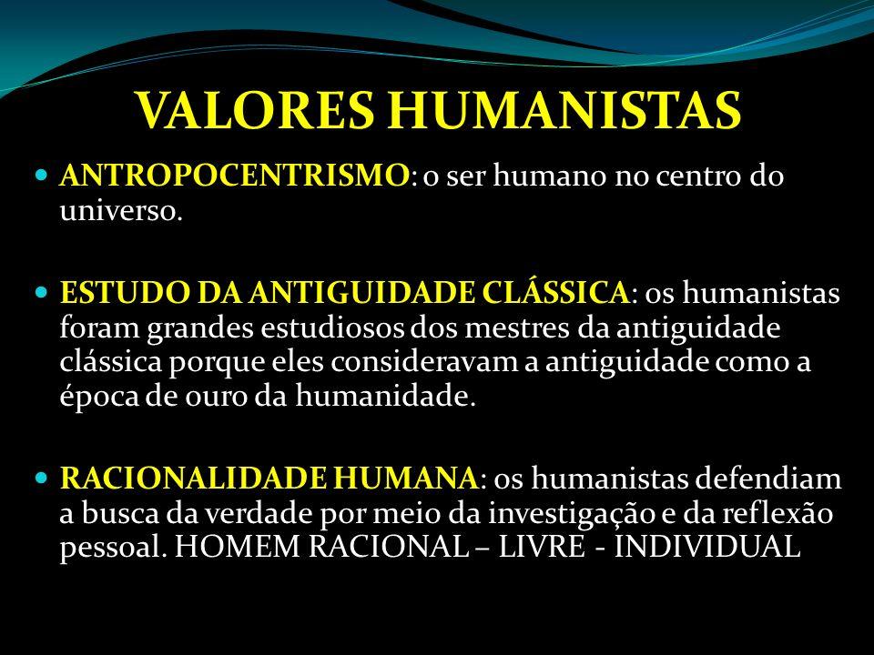 VALORES HUMANISTAS ANTROPOCENTRISMO: o ser humano no centro do universo.