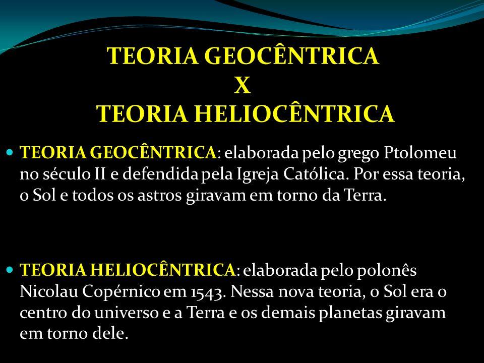 TEORIA GEOCÊNTRICA X TEORIA HELIOCÊNTRICA