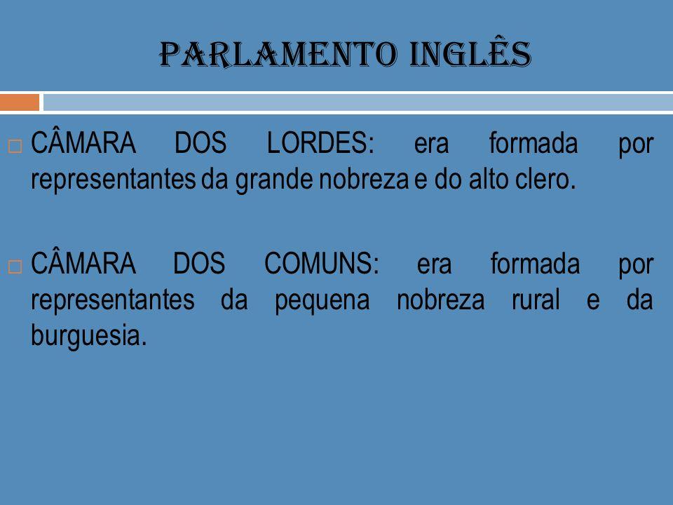 PARLAMENTO INGLÊS CÂMARA DOS LORDES: era formada por representantes da grande nobreza e do alto clero.