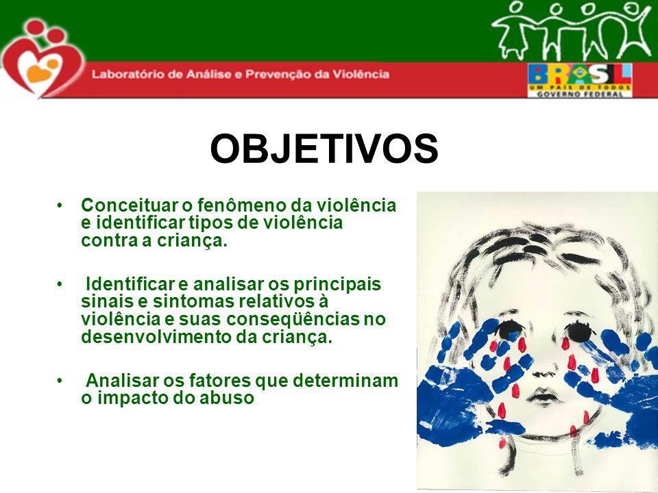 OBJETIVOS Conceituar o fenômeno da violência e identificar tipos de violência contra a criança.