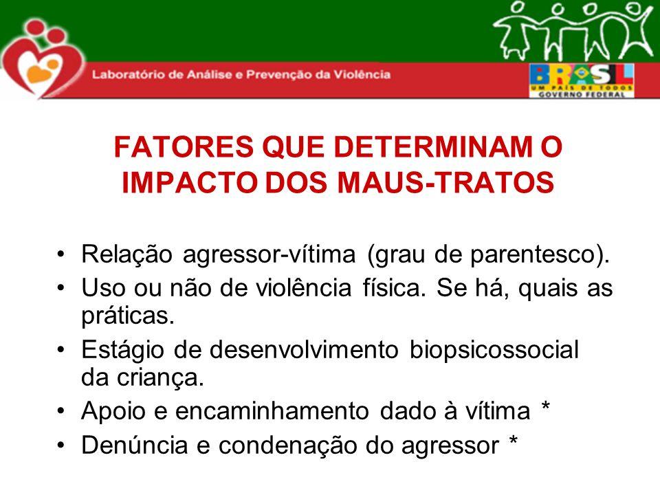 FATORES QUE DETERMINAM O IMPACTO DOS MAUS-TRATOS
