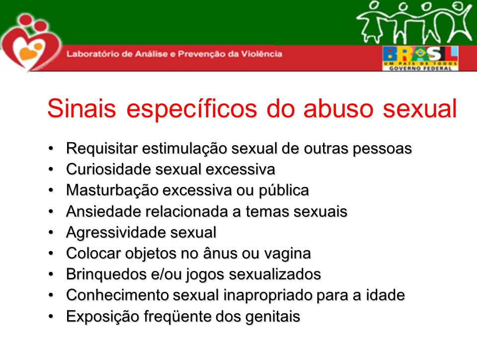 Sinais específicos do abuso sexual