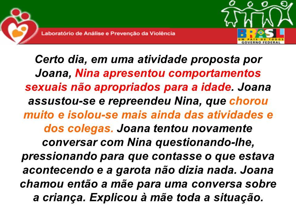 Certo dia, em uma atividade proposta por Joana, Nina apresentou comportamentos sexuais não apropriados para a idade.
