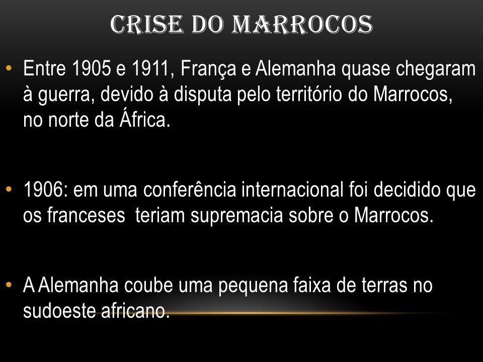 CRISE DO MARROCOS Entre 1905 e 1911, França e Alemanha quase chegaram à guerra, devido à disputa pelo território do Marrocos, no norte da África.