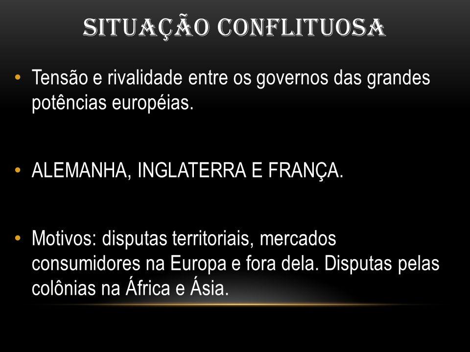 SITUAÇÃO CONFLITUOSA Tensão e rivalidade entre os governos das grandes potências européias. ALEMANHA, INGLATERRA E FRANÇA.