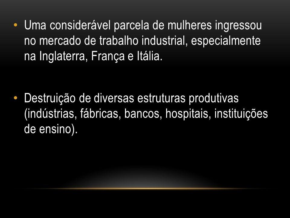 Uma considerável parcela de mulheres ingressou no mercado de trabalho industrial, especialmente na Inglaterra, França e Itália.