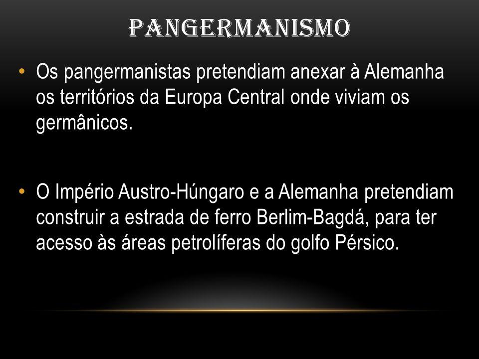 PANGERMANISMO Os pangermanistas pretendiam anexar à Alemanha os territórios da Europa Central onde viviam os germânicos.