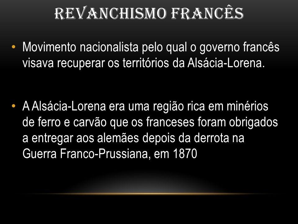 REVANCHISMO FRANCÊS Movimento nacionalista pelo qual o governo francês visava recuperar os territórios da Alsácia-Lorena.