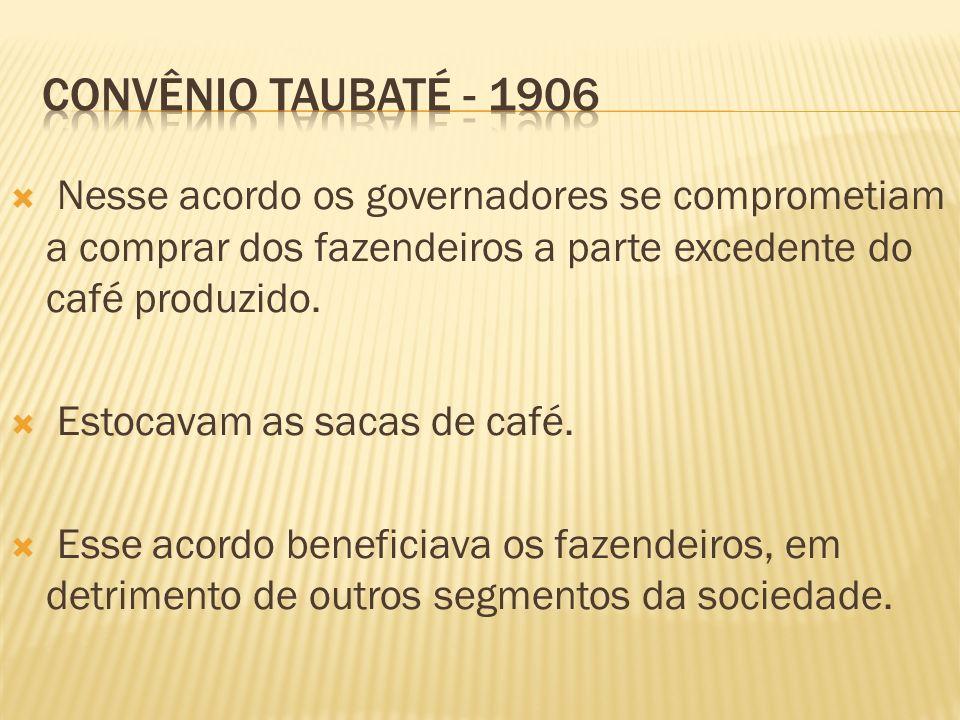 Convênio taubaté - 1906 Nesse acordo os governadores se comprometiam a comprar dos fazendeiros a parte excedente do café produzido.