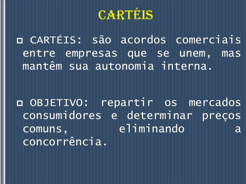 CARTÉIS CARTÉIS: são acordos comerciais entre empresas que se unem, mas mantêm sua autonomia interna.