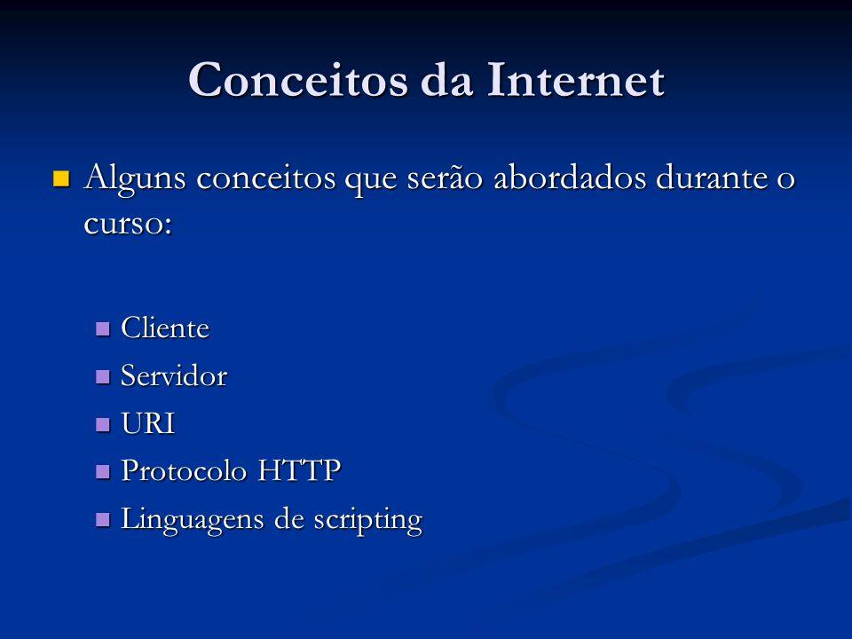 Conceitos da Internet Alguns conceitos que serão abordados durante o curso: Cliente. Servidor. URI.