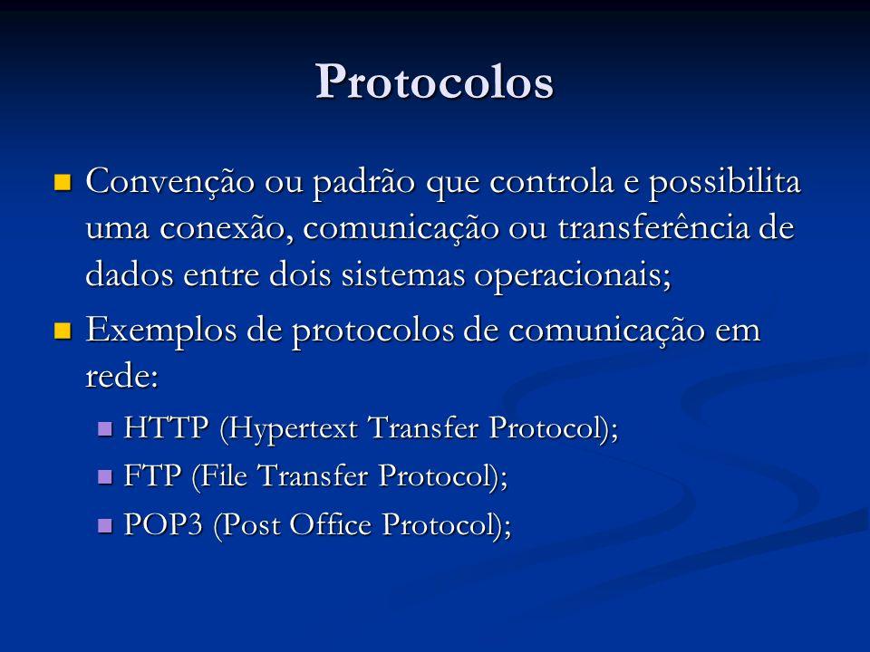 Protocolos Convenção ou padrão que controla e possibilita uma conexão, comunicação ou transferência de dados entre dois sistemas operacionais;