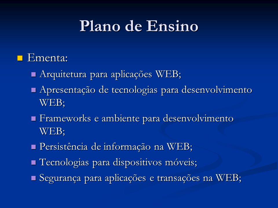 Plano de Ensino Ementa: Arquitetura para aplicações WEB;