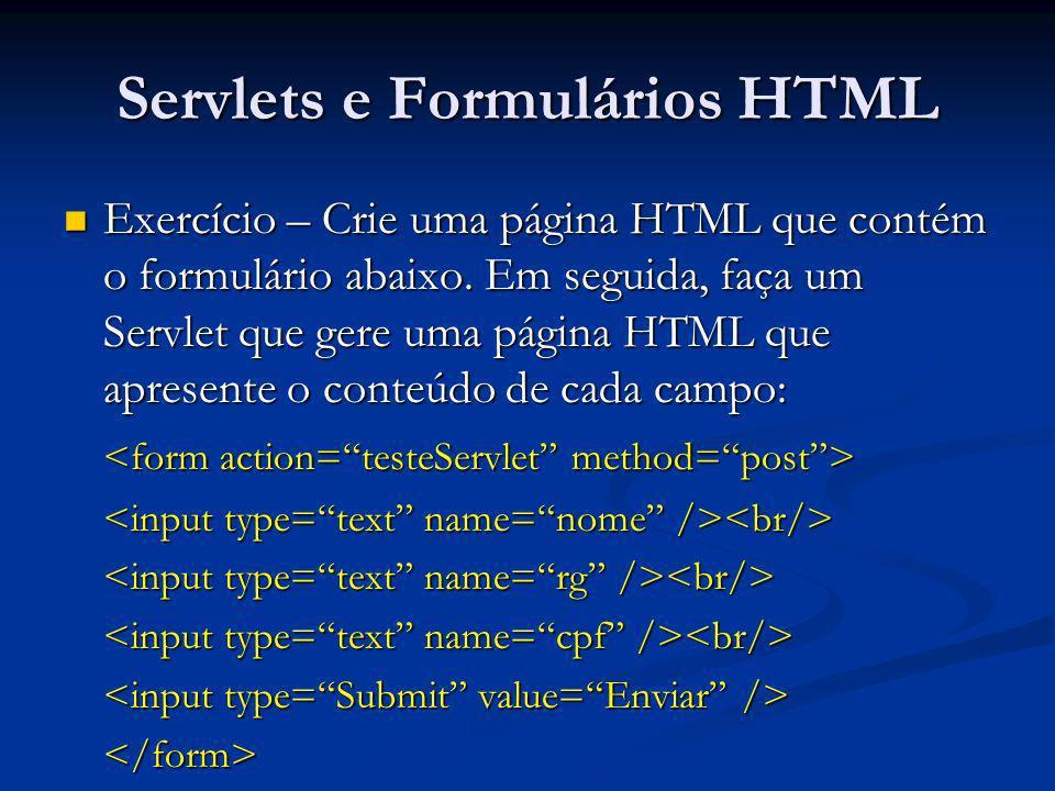 Servlets e Formulários HTML