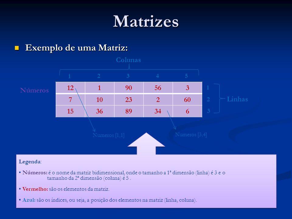 Matrizes Exemplo de uma Matriz: Colunas Números 12 1 90 56 3 7 10 23 2