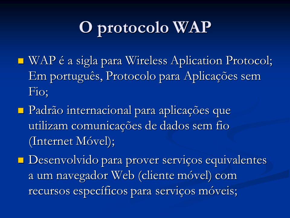 O protocolo WAP WAP é a sigla para Wireless Aplication Protocol; Em português, Protocolo para Aplicações sem Fio;