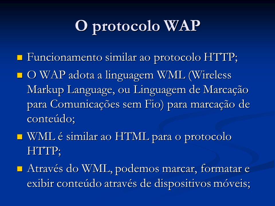 O protocolo WAP Funcionamento similar ao protocolo HTTP;