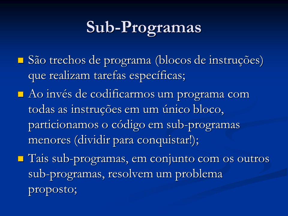 Sub-Programas São trechos de programa (blocos de instruções) que realizam tarefas específicas;