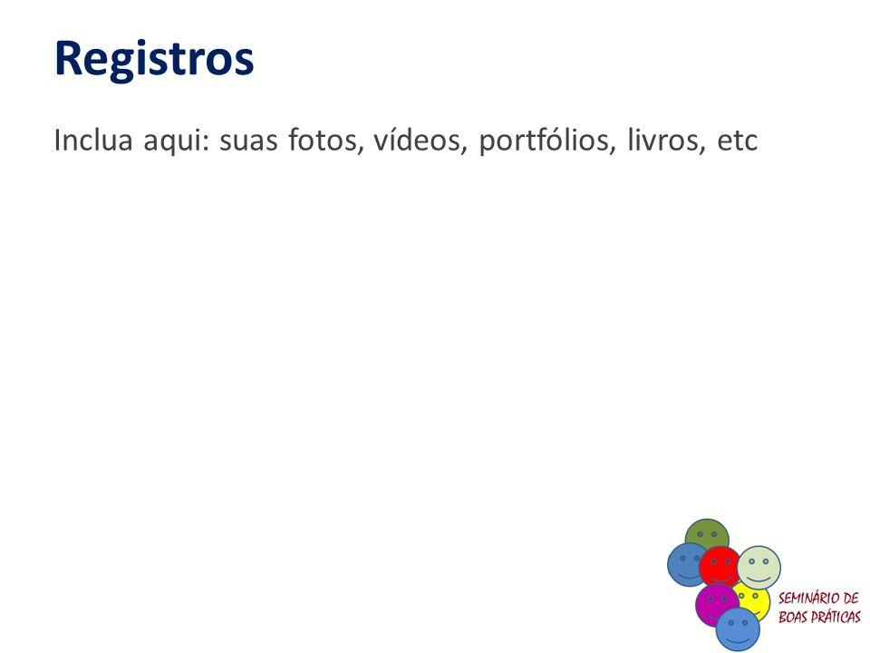 Registros Inclua aqui: suas fotos, vídeos, portfólios, livros, etc