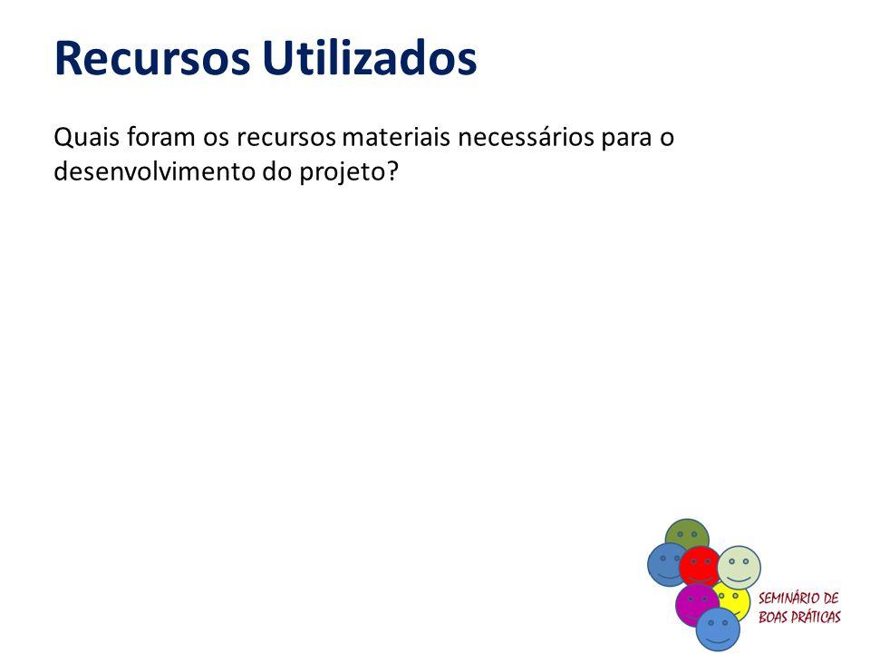 Recursos Utilizados Quais foram os recursos materiais necessários para o desenvolvimento do projeto